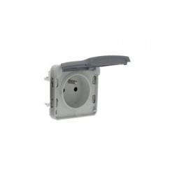 069551 1-zásuvka IP55, sivá