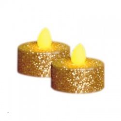 CD2/GX LED čajová sviečka, 2ks, zlatá