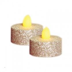 CD2/SX LED čajová sviečka, 2ks, strieborná