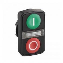 Ovládacia hlavica dvojtlačíko so signálkou, zelená/červená