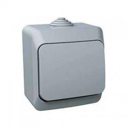 Vypínač č.1 na omietku, IP44, sivý