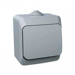 Vypínač č.1/0 na omietku, IP44, sivý