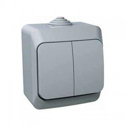 Vypínač č.5 na omietku, IP44, sivý