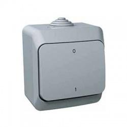 Vypínač č.2 na omietku, IP44, sivý