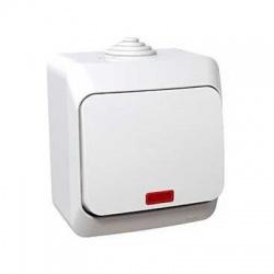Vypínač č.1So s kontrolkou na omietku, IP44, biely