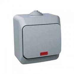 Vypínač č.6So s kontrolkou na omietku, IP44, sivý