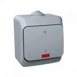 Vypínač č.2So s kontrolkou na omietku, IP44, sivý