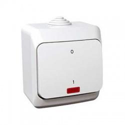 Vypínač č.2So s kontrolkou na omietku, IP44, biely