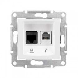 SDN5100121 1xRJ11 + 1xRJ45 UTP Cat.5E zásuvka, biela
