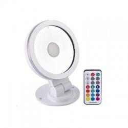 RGB LED reflektor, 10W, diaľkový ovládač, bielo-strieborný