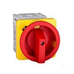 Núdzový vypínač 3-pólový, 100A, 37kW, na panel, červený
