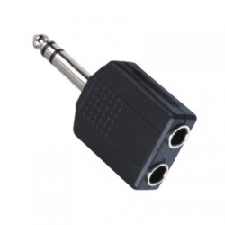 Adaptér Jack 2x 6,35 F stereo/Jack 6,3 M stereo