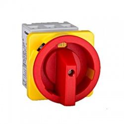 Núdzový vypínač 4-pólový, 63A, 22kW, na panel, červený