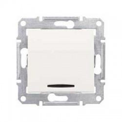 SDN0201223 vypínač č. 2 s červenou signalizačnou kontrolkou, 16A, krémový