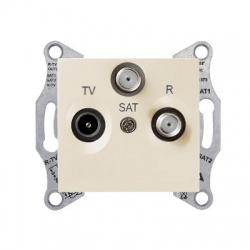 SDN3501447 TV-SAT-R zásuvka, 4dB, priebežná, béžová
