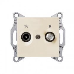 SDN3301847 TV-R zásuvka, 4dB, priebežná, béžová