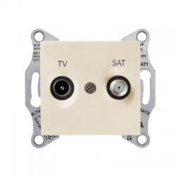 SDN3401947 TV-SAT zásuvka, 4dB, priebežná, béžová