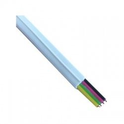 Telefónny kábel, 6P4C, 4x28AWG, 2,4x4,8mm, biely