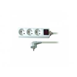 Predlžovací prívod, 3 zásuvky, biely, vypínač, 2m