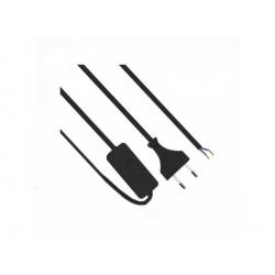 Flexo šnúra 3m, 2x0,75 čierna, s vypínačom