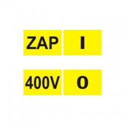 ZAP, 400V, O, I mix nálepky 15x10mm, 12x12mm