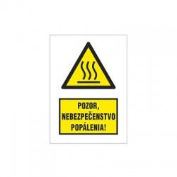 Pozor, nebezpečenstvo popálenia 47x64mm, nálepka