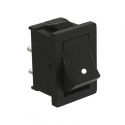 Kolískový prepínač, 1-pólový, čierny, vratný