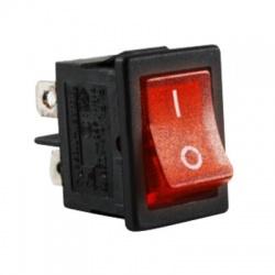 Kolískový prepínač, 2-pólový, červený, podsvietený