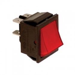 Kolískový prepínač, 2-pólový, červený, podsvietený, 30x22mm