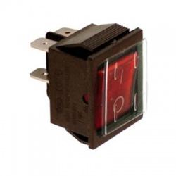 Kolískový prepínač, 2-pólový, červený, podsvietený, IP65