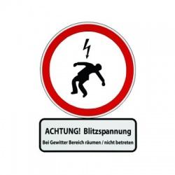 """Výstražná tabuľka """"POZOR! Nebezpečenstvo blesku. Nevstupujte pri búrke!"""""""