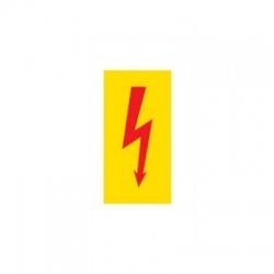 Blesk červený na žltom 50x33mm, nálepka