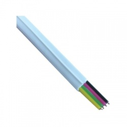 Telefónny kábel, 6P4C, 2,5 x 5mm, biely