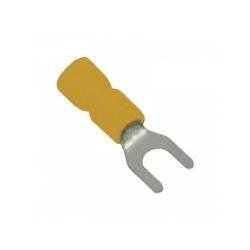 6mm2, otvor 5,3mm, izolovaná lisovacia vidlica, žltá