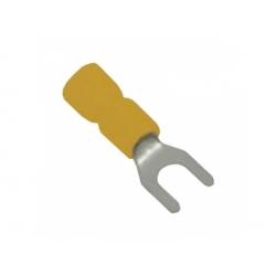 6mm2, otvor 6,4mm, izolovaná lisovacia vidlica, žltá