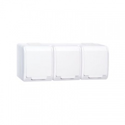 3-zásuvka na omietku, biela, IP44