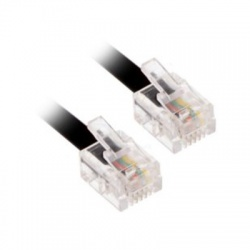 Telefónny kábel, RJ11 konektor - RJ11 konektor, 7m, čierny