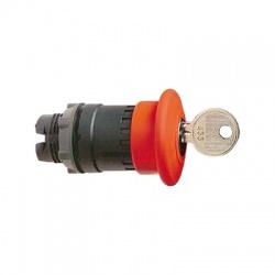 Okrúhla hríbová hlavica pre núdzové vypnutie, priemer 40mm, uvoľnenie kľúčom, červená