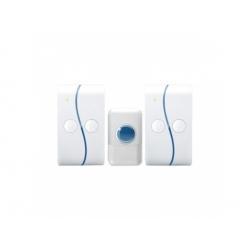2x bezdrôtový zvonček plug-in, 120m, biely