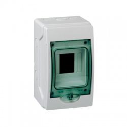 1x4 moduly, IP65, nástenná mini rozvodnica, priehladné zelené dvere