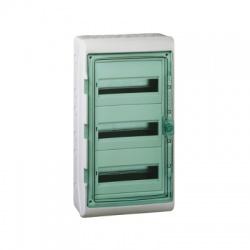 3x12 modulov, IP65, nástenná rozvodnica, priehladné zelené dvere