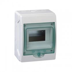 1x6 moduly, IP65, nástenná mini rozvodnica, priehladné zelené dvere