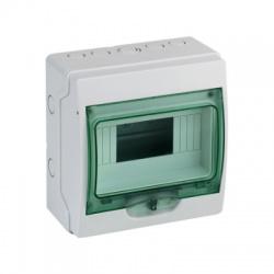 1x8 moduly, IP65, nástenná mini rozvodnica, priehladné zelené dvere
