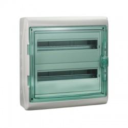 2x18 modulov, IP65, nástenná rozvodnica, priehladné zelené dvere