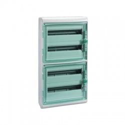 4x18 modulov, IP65, nástenná rozvodnica, priehladné zelené dvere