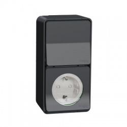 Zásuvka SCHUKO + vypínač, komplet, IP55, antracit