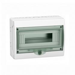 1x12 moduly, IP65, nástenná mini rozvodnica, priehladné zelené dvere