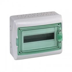 1x12 modulov, IP65, nástenná rozvodnica, priehladné zelené dvere