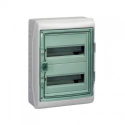 2x12 modulov, IP65, nástenná rozvodnica, priehladné zelené dvere