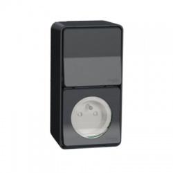Zásuvka 230V+vypínač, komplet, IP55, antracit